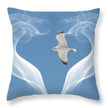 Throw Pillow featuring the photograph Bird In Flight by Athala Carole Bruckner