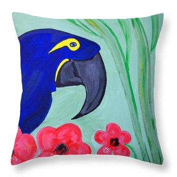 Throw Pillow featuring the painting Bird In Paradise   by Nora Shepley