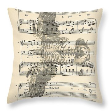 Bird Music Throw Pillow by Georgia Fowler