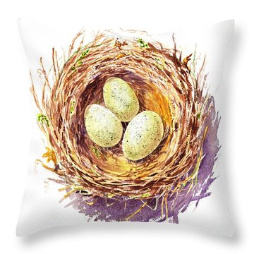 Bird Nest A Happy Trio Throw Pillow by Irina Sztukowski