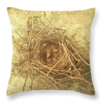 Bird Nest II Throw Pillow by Suzanne Powers