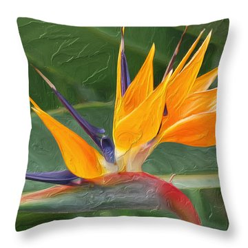 Bird Of Paradice  Throw Pillow by Don Wright