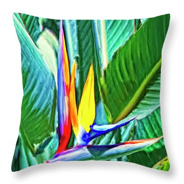 Bird Of Paradise Throw Pillow by Dominic Piperata