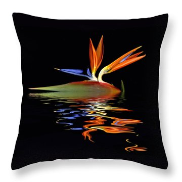 Bird Of Paradise Flood Throw Pillow by Geraldine Alexander