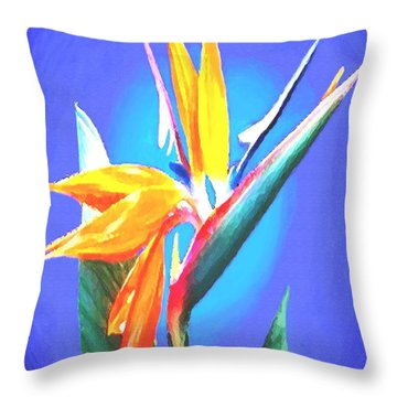 Throw Pillow featuring the painting Bird Of Paradise Flower by Sophia Schmierer