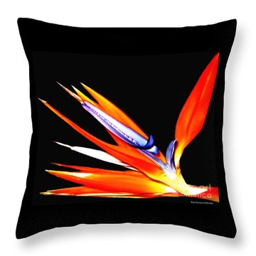 Throw Pillow featuring the photograph Bird Of Paradise Flower With Oil Painting Effect by Rose Santuci-Sofranko