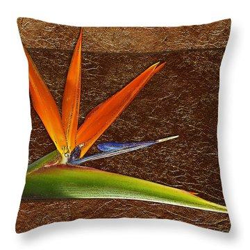 Bird Of Paradise Gold Leaf Throw Pillow by Phyllis Denton