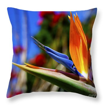 Throw Pillow featuring the photograph Bird Of Paradise Open For All To See by Jerry Cowart