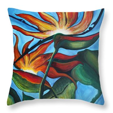 Throw Pillow featuring the painting Bird Of Paradise by Jolanta Anna Karolska