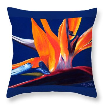 Bird Of Paradise Throw Pillow by Mary Benke
