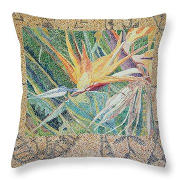 Bird Of Paradise With Tapa Cloth Throw Pillow