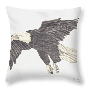 Throw Pillow featuring the drawing Bird Of Prey by Patricia Hiltz