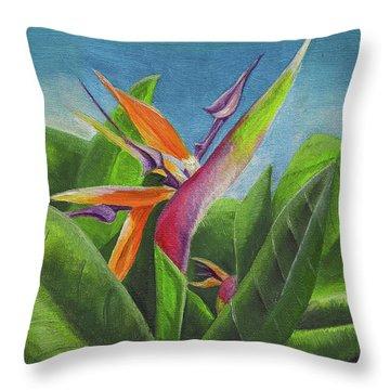 Throw Pillow featuring the painting Hawaiian Bird Of Paradise by Thomas J Herring