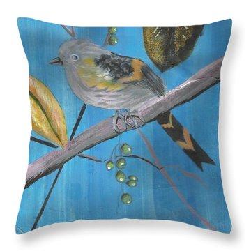 Bird On A Branch  Throw Pillow by Francine Heykoop