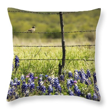 Bird On A Fence Throw Pillow