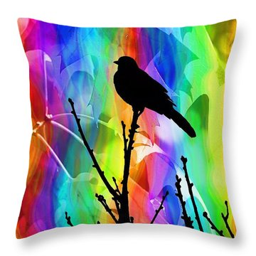 Throw Pillow featuring the photograph Bird On A Stick by Elizabeth Budd