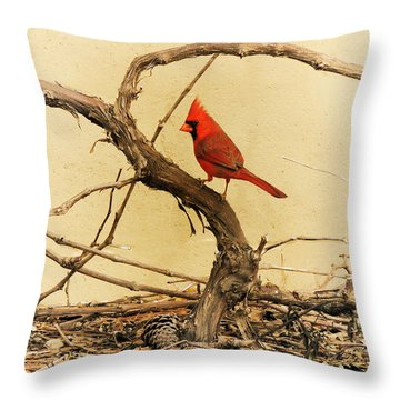 Throw Pillow featuring the photograph Bird On A Vine by Jayne Wilson