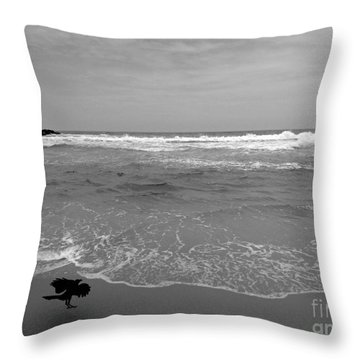 Bird On Kovalam Beach Throw Pillow by Mini Arora