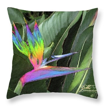 Bird Ow  Paradise Throw Pillow by Suzette Kallen