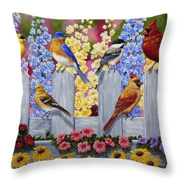 Bird Painting - Spring Garden Party Throw Pillow
