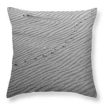 Bird Prints On Beach Throw Pillow