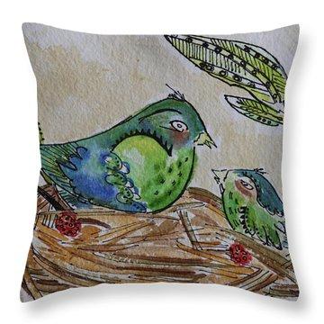 Bird Talk Throw Pillow