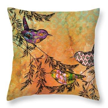 Bird Trio On Branches-a Throw Pillow
