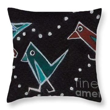 Throw Pillow featuring the painting Bird Walk by Joyce Gebauer