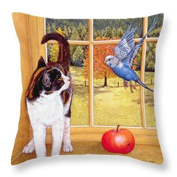 Bird Watching Throw Pillow by Ditz