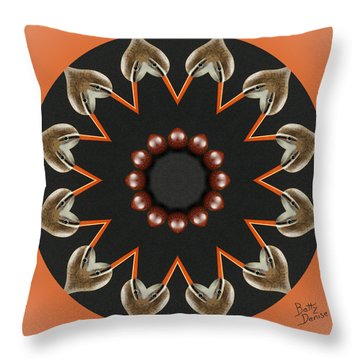 Throw Pillow featuring the photograph Bird With Egg Kaleidoscope by Betty Denise