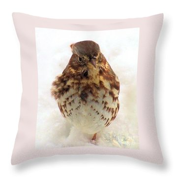 Throw Pillow featuring the photograph Fox Sparrow In Snow by Janette Boyd