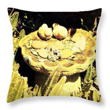 Birdbath Throw Pillow by Beth Williams