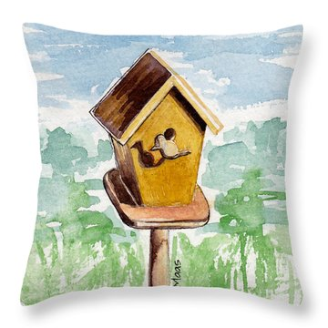 Birdhouse And Bird Of Wood Throw Pillow by Julie Maas