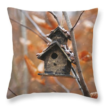 Throw Pillow featuring the photograph Birdhouse Hanging On Branch With Leaves by Sandra Cunningham