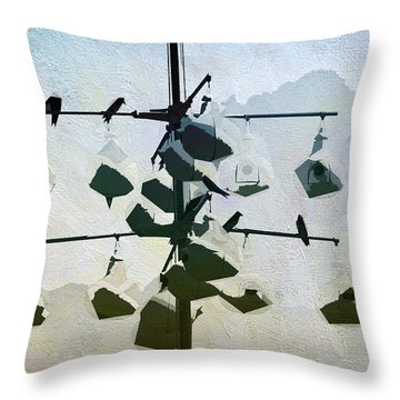 Throw Pillow featuring the digital art Birdie Sanctuary by Davina Washington