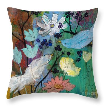 Birds And Berries Throw Pillow