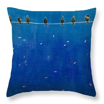 Birds And Fish Throw Pillow