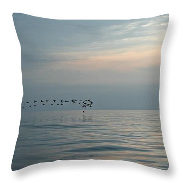Birds At Sunset In Sister Bay Throw Pillow