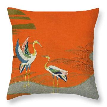 Birds At Sunset On The Lake Throw Pillow by Kamisaka Sekka