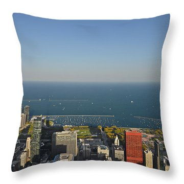 Bird's Eye View Of Chicago's Lakefront Throw Pillow by Christine Till