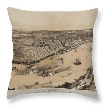 Birds Eye View Of New Orleans 1852 Throw Pillow by Bill Cannon