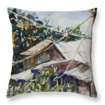 Throw Pillow featuring the painting Bird's Eye View by Xueling Zou