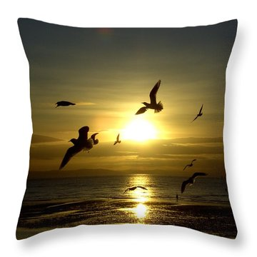 Birds Gathering At Sunset Throw Pillow