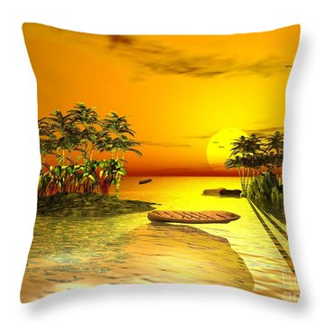 Birds In Flight Above A Golden Sunset Throw Pillow by Jacqueline Lloyd