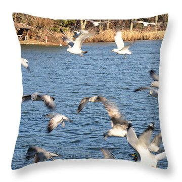 Birds In Flight Throw Pillow by Diane Lent