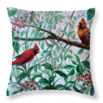 Birds In Our Garden Throw Pillow