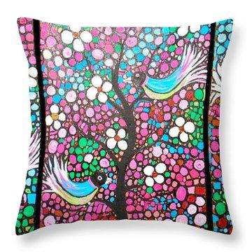 Birds In The Summer Breeze Throw Pillow