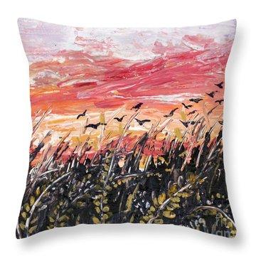 Birds In Wheatfield Throw Pillow