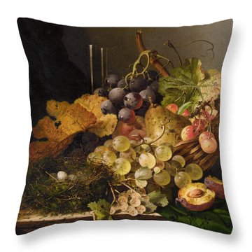 Birds Nest Butterfly And Cherries Throw Pillow by Edward Ladell