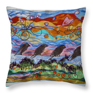 Birds Of A Feather 1 Throw Pillow by Heather Hennick